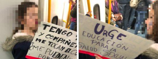 """Niñas de nueve años con carteles exigiendo educación sexual """"porque nos tocan el culo"""" en la marcha 'feminazi' del 8-M"""
