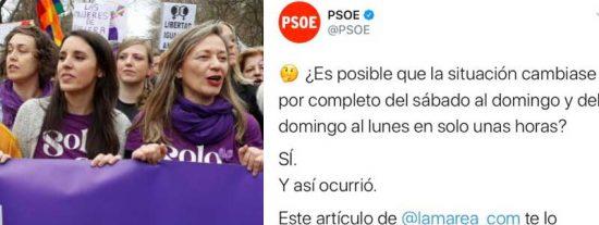 Están nerviosos y acorralados: el dantesco hilo del PSOE que les llevó aconsejar leer al 'fake' Miguel Lacambra para quitarse el marrón del 8M