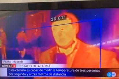 """Un control de temperatura en IFEMA pilla a un reportero de Telecinco con fiebre: """"Estamos un poco nerviosos"""""""