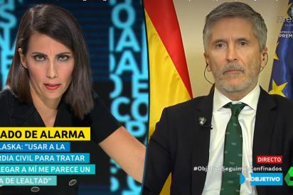 """Un nervioso Marlaska tartamudea en laSexta al intentar negar que la Guardia Civil trabaje para """"minimizar"""" las críticas a Sánchez"""