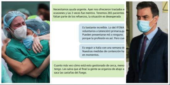 """Los 'whatsapps' de los sanitarios clamando contra el Gobierno de Sánchez: """"Es para matarlos, ya no se puede más"""""""