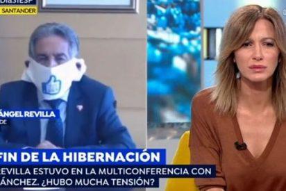 El pesadísimo Revilla insiste en defender su penosa 'servilleta-mascarilla' en TV... aunque él use otra