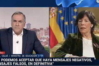 """Celaá 'canta' en TVE que el Gobierno usa a las fuerzas de seguridad para perseguir """"mensajes negativos"""" contra ellos"""
