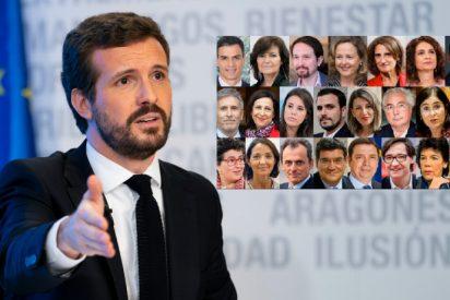 Casado (PP) exige a Sánchez (PSOE) recortar a la mitad los ministerios pasando de 23 a 13