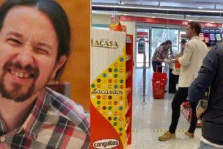"""Pablo Iglesias, pillado en un supermercado sin mascarilla, pero con escolta y pistola: """"hijo de la gran p** y rojo de m*"""""""