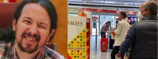 Pablo Iglesias, pillado en un supermercado sin mascarilla, pero con escolta y pistola: