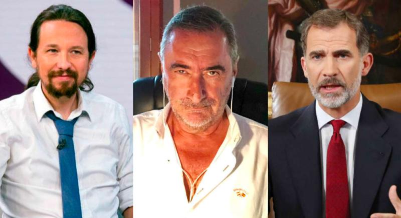 """Carlos Herrera compara al Rey con Iglesias frente al coronavirus y concluye que el Podemos es un """"charlatán cantamañanas"""""""