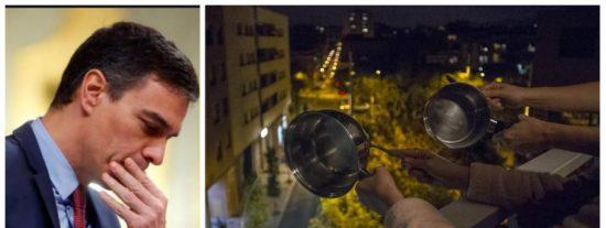 Sánchez se derrite: el 'guateque de los balcones' se torna en rabia, indignación y caceroladas contra el Gobierno PSOE-Podemos