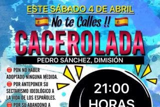 Toda España pide, este sábado a las 21h, la dimisión de Sánchez con una gran cacerolada