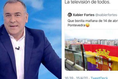 ¿Para trabajar en TVE no sería obligatorio respetar la legalidad vigente? Sale a la luz un tuit de 'El Lechero' Fortes aireando la 'tricolor' republicana