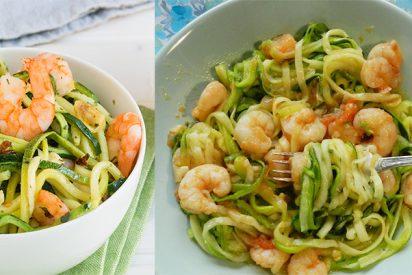 Espaguetis de calabacín con gambas al ajillo