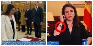 Irene Montero, la ministra que juró ante el Rey, luce ahora una pulsera con bandera republicana