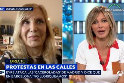 """Pilar Eyre defiende en TV la gestión de Torra: """"Lo estamos haciendo bien, no lloriqueamos"""""""