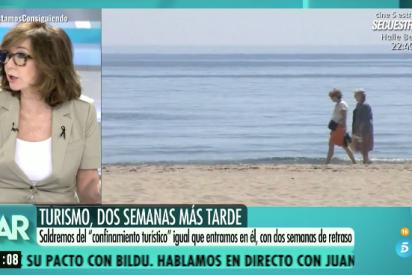 """Bronca de Ana Rosa a la 'sanchista' de Mediaset: """"¡Qué pesados sois con las hordas de madrileños, como si fuéramos langostas!"""""""