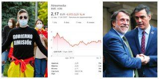 El Quilombo / Mentir a los españoles para salvar a Sánchez le pasa factura a Atresmedia: sus acciones valen la mitad que hace seis meses