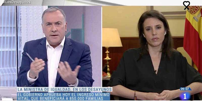 Irene Montero envía el mensaje de que la derecha anhela un golpe de Estado ante un petrificado Fortes (TVE)