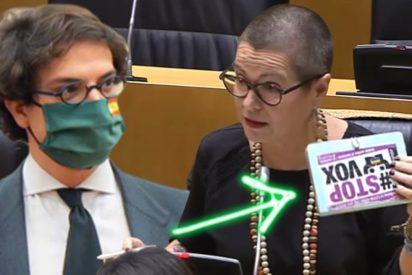 Una independentista insulta a VOX en el Congreso con una cutre pancarta pero sale escaldada