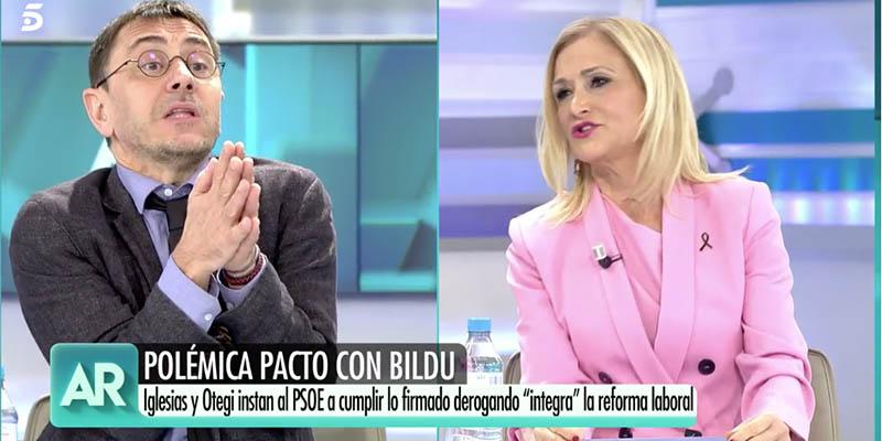"""Monedero y Cifuentes, a voces en Telecinco: """"¡Si Bildu son herederos de ETA, el PP lo son de Franco!"""""""