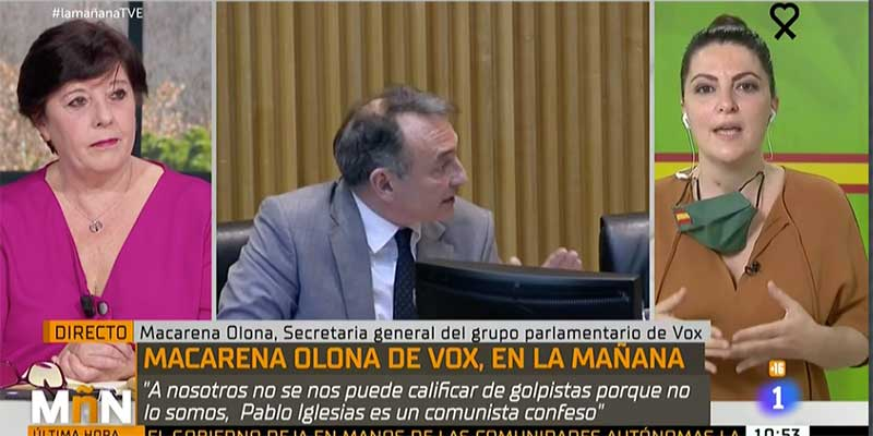 """Una tertuliana de TVE se pregunta por qué no puede calificar a VOX de """"golpistas"""" y Macarena Olona la deja frita"""