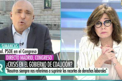 Lluvia de palos de Ana Rosa a Simancas por decir que la culpa del pacto del PSOE con Bildu es del PP