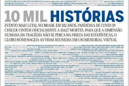 La dura portada del diario O'Globo para mostrar las 10.000 muertes por COVID-19 en Brasil