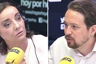 Pepa Bueno busca y rebusca en la hemeroteca de El País para salvar de la quema a Pablo Iglesias