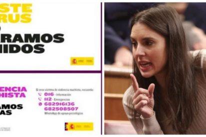 Irene Montero se 'contagia' del virus del derroche: 120.000 euros en adaptar la campaña del Covid-19 para un lema contra el machismo
