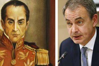José Luis Rodríguez Zapatero y una representación artística de Simón Bolívar