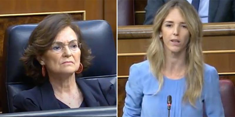 """Cayetana acorrala a Calvo: """"Ustedes legitiman y consienten a los golpistas mientras ultrajan a los demócratas"""""""