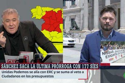 """Rufián explica sin querer el uso que hacen de la TV3: """"Los golpes de Estado no se dan con tanques, sino con desinformación"""""""