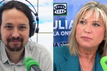 Pablo Iglesias y Julia Otero, de la mano, despachan en 45 segundos el sonrojante vídeo de Irene Montero el 9-M