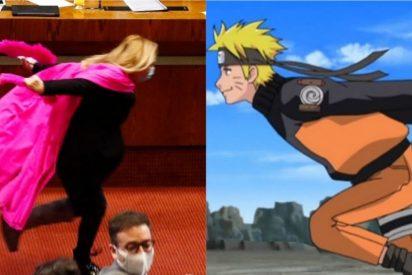 """Una diputada 'progre' corre """"como Naruto"""" en el Congreso para celebrar el retiro de los fondos de pensiones"""