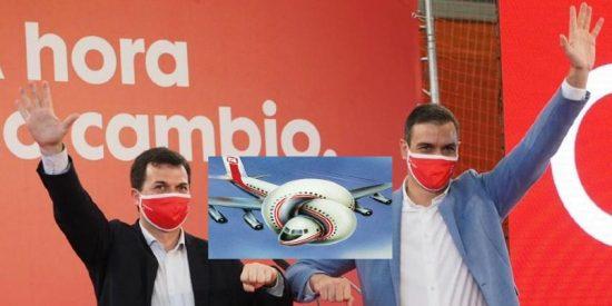 Pedro Sánchez se 'inventa' una avería del jet privado para no ir al cierre de campaña del PSOE en Galicia