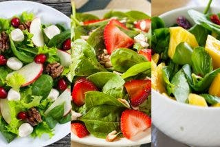 Tres versiones de la ensalada de espinacas con frutas: ¡Mango, fresas y manzana!