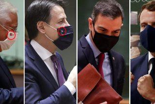 Adivinen qué líder europeo no lleva la bandera de su país en la mascarilla...