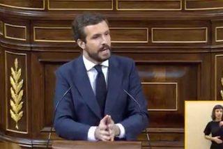"""Casado señala a las 'plañideras' de Sánchez: """"La pandemia se descontrola, el paro disparado y usted viene aquí y ellos le aplauden"""""""