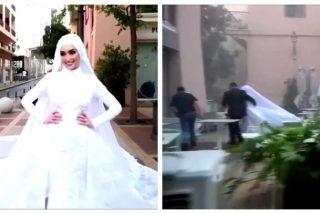 El impactante vídeo de una novia en su sesión de fotos cuando explota Beirut