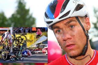Ciclista en coma: brutal caída en la línea de meta del Tour de Polonia 2020