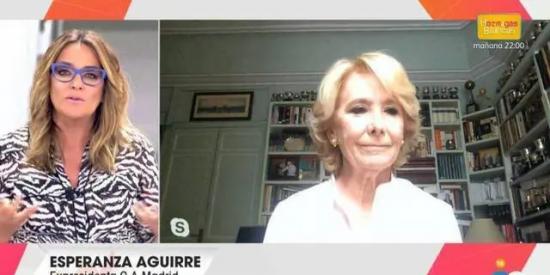 Esperanza Aguirre pulveriza a Toñi Moreno y a Telecinco por unas imágenes de Juan Carlos I