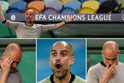 La desesperada reacción de Guardiola tras ser eliminado su Manchester City por el Lyon