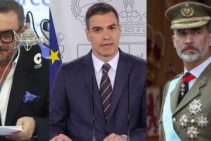 """La advertencia de Carlos Herrera a Felipe VI tras el 'apoyo' de Pedro Sánchez: """"Cuídese, majestad, de los abrazos de este sujeto"""""""