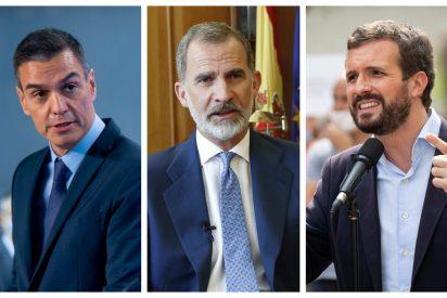 """Casado despluma a Sánchez por su silencio """"cómplice"""" en el ataque a la Corona: """"Demuestra cobardía"""""""