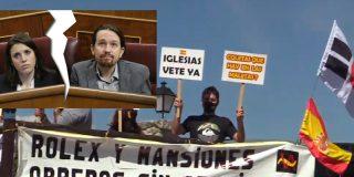 """Nueva pancarta ante la mansión de Iglesias y Montero: """"Rolex y mansiones, obreros sin pensiones"""""""