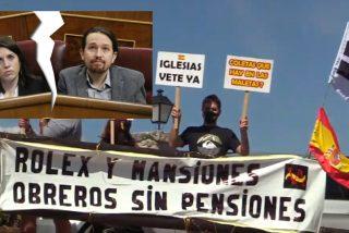 """Nueva pancarta ante la mansión de Pablo Iglesias e Irene Montero: """"Rolex y mansiones, obreros sin pensiones"""""""