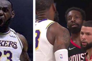 Pánico a LeBron: Un jugador de los Rockets se aterra cuando el astro lo encara
