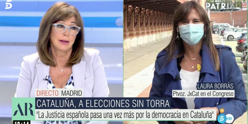 """Ana Rosa despide con vacile a la obscena y """"victimista"""" Laura Borrás: """"¡Visca Cataluña… en España!"""""""