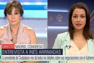 """Tremendo azote de realidad de Ana Rosa a Arrimadas: """"¡A usted Pedro Sánchez le ha puesto los cuernos!"""""""