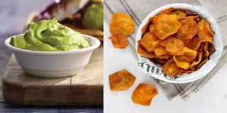 Chips de boniato al horno con salsa de yogur y aguacate: Snack saludable y sencillo