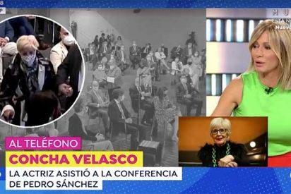 La socialista Concha Velasco amenaza con colgar a Susanna Griso si amagan con hablar mal de Pedro Sánchez