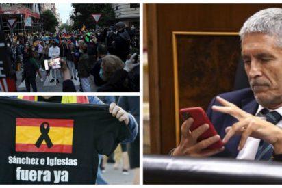 Marlaska desconoce la identidad de quienes se manifiesten contra Sánchez sin autorización de un juez